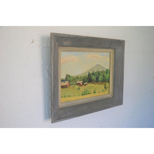 Americana Framed Mountain Farm Landscape Painting For Sale - Image 3 of 7