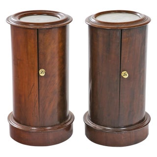 19th Century English Mahogany Column Cabinets - A Pair For Sale