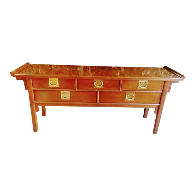 Worrells Regency Pagoda Wood & Brass Sideboard Altar Table For Sale