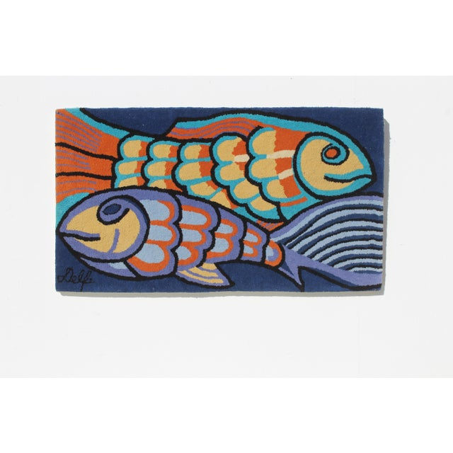 Textile 1970s Bold Fish Weaving Carpet Wall Decor For Sale - Image 7 of 7