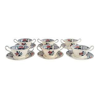 Vintage Wedgwood Bouillon Bowls & Saucers - Service for 6 For Sale