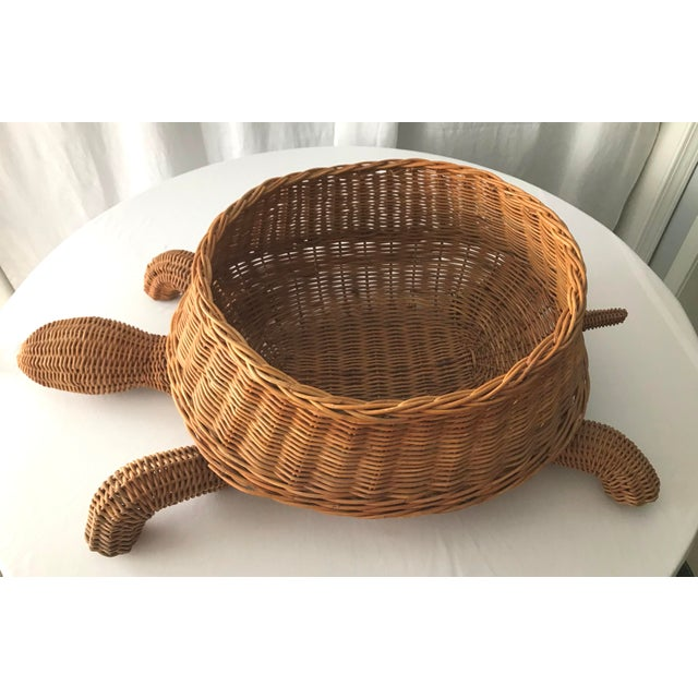 """Darling large vintage Mario Lopez Torres """"raw"""" wicker turtle. Great for magazines, blankets, kid toys, dog toys, plants..."""