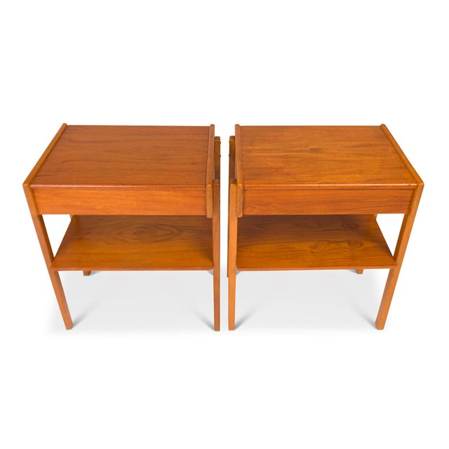 Mid-Century Modern Vintage Danish Mid-Century Teak Nightstands (Pair) For Sale - Image 3 of 11