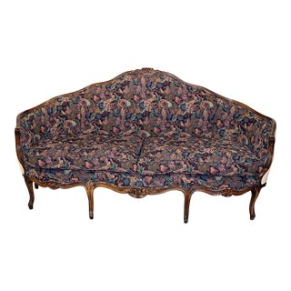 1920s Vintage Louis XV Style Carved Walnut Tapestry Sofa For Sale