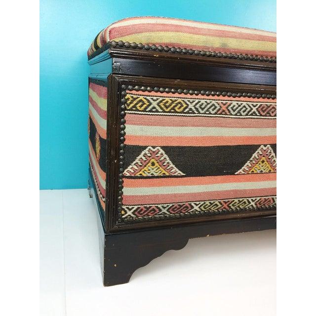 Antique Turkish Kilim Cedar Storage Trunk Bench For Sale - Image 4 of 10