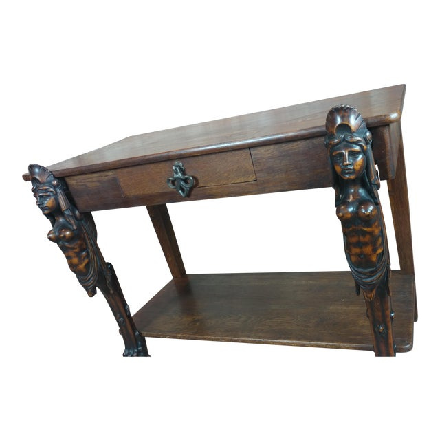 Antique Side table w/two carved Nude Female Figures For Sale