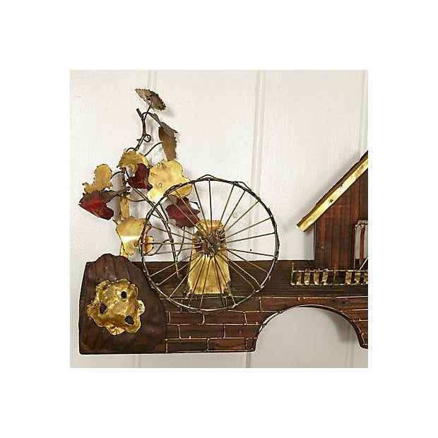 Metal Waterwheel & House Wall Sculpture For Sale In Boston - Image 6 of 6
