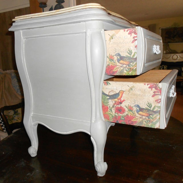 French Bombay Marble Top Nightstands - A Pair - Image 3 of 7