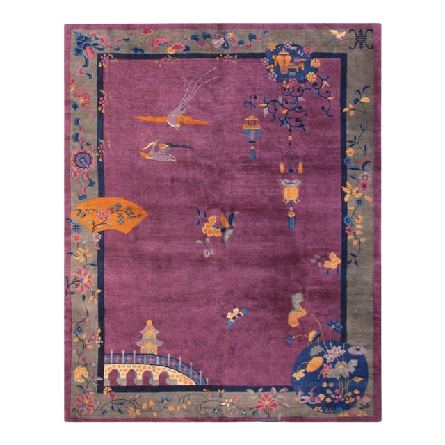 """Antique Chinese Art Deco Rugs 9'2"""" X 11'8"""" For Sale"""