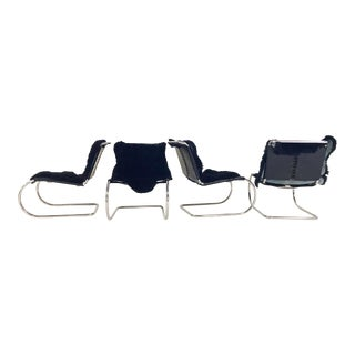 Ludwig Mies Van Der Rohe for Knoll MR Chairs with Brazilian Sheepskins - Set of 4 For Sale