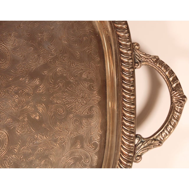 1980s English Silver Plate Footed Serving Tray With Handles For Sale In Tulsa - Image 6 of 11