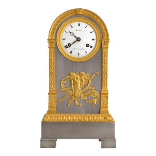Early 19th Century Empire Period Silver and Gilt Mantle Clock by Martina For Sale