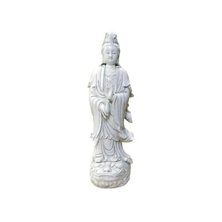 Chinese Vintage Off White Porcelain Kwan Yin Statue For Sale