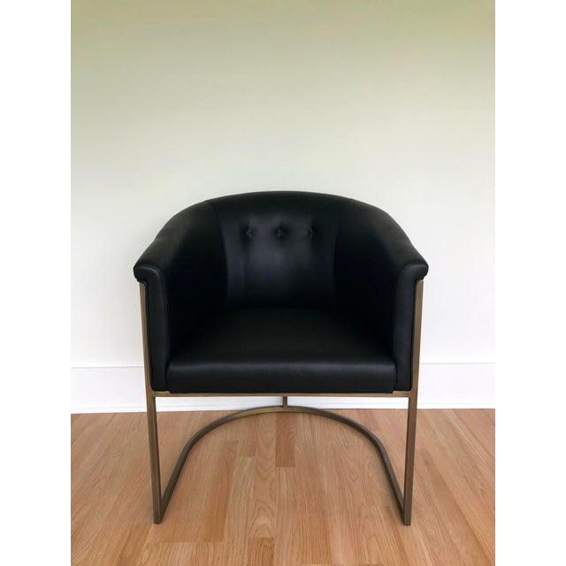 Contemporary J L F Collections Black Leather Barrel Chairs - a Pair For Sale - Image 3 of 9