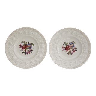 English Wedgwood Floral Plates - a Pair