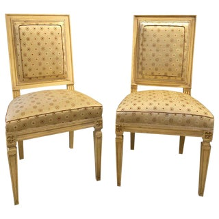 Jansen Style Paint Decorated & Gilt Louis XVI Style Dining Chairs 1 For Sale