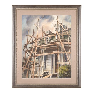 Victorian Home & Black Cat Vintage Watercolor Painting For Sale