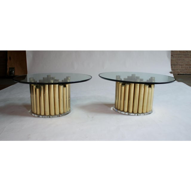 "Midcentury brass and Lucite base cocktail or end tables (base measures 17"" diameter x 16"" H) and topped with a 3/4""..."