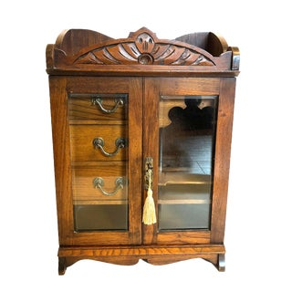 19th Century Antique English Tiger Oak Tobacco Cabinet For Sale