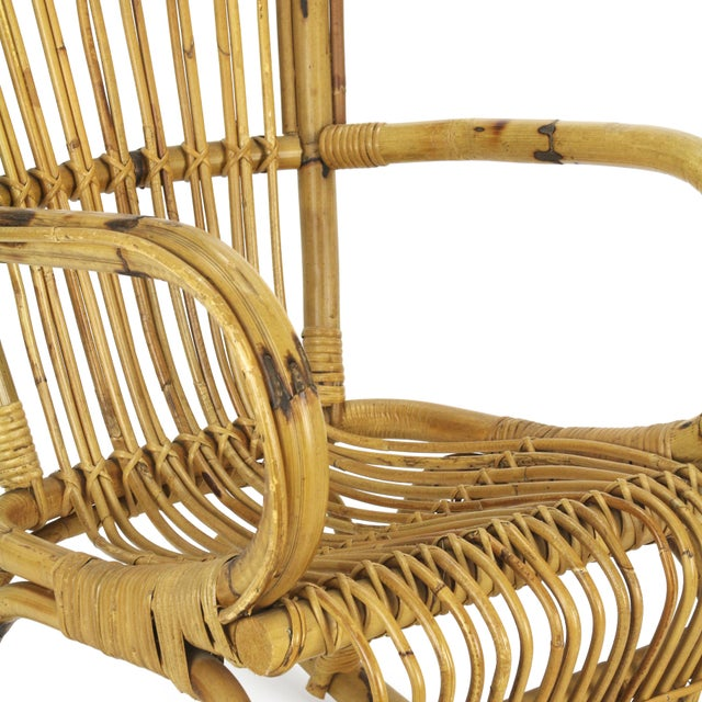 1950s Franco Albini Style Rattan Bamboo Rocking Chair - Image 3 of 5