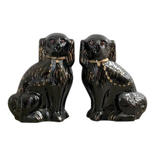 Black Staffordshire Mantle Dogs - a Pair For Sale