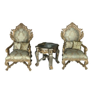 French Italian Tudor Rococo Louis XV Armchairs Bergere Chairs - a Pair For Sale