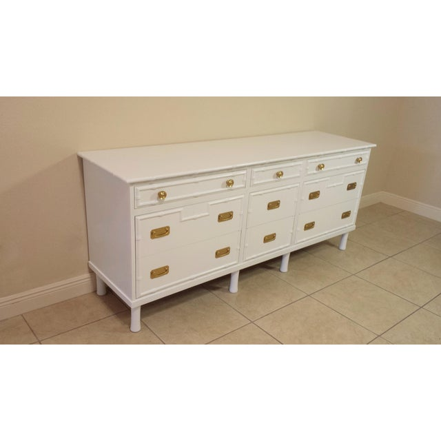 Paint Faux Bamboo Ficks Reed High Gloss White Dresser For Sale - Image 7 of 8