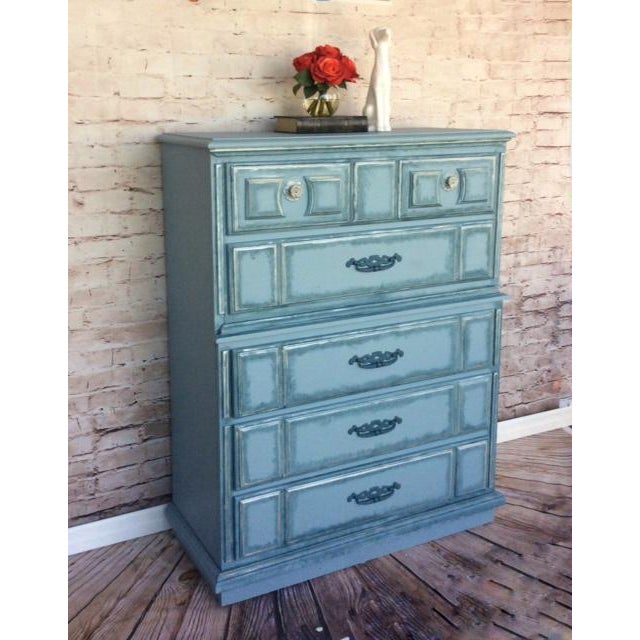 Turquoise Hand Painted Dresser - Image 3 of 3