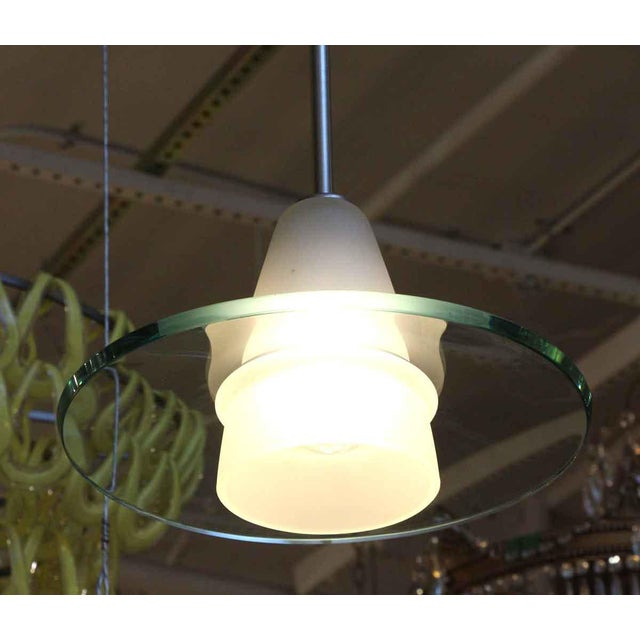Modern Modern Frosted Glass Pendant Light With Clear Disc For Sale - Image 3 of 6