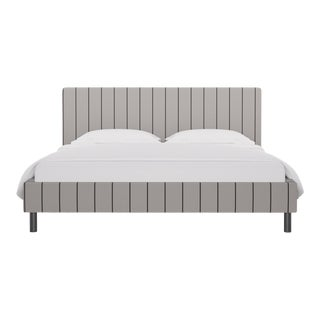 California King Tailored Platform Bed in Stripe In Ink For Sale