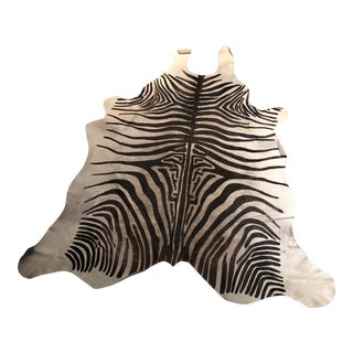 Stenciled Zebra Cow Hide Rug - 6″ × 7″ For Sale
