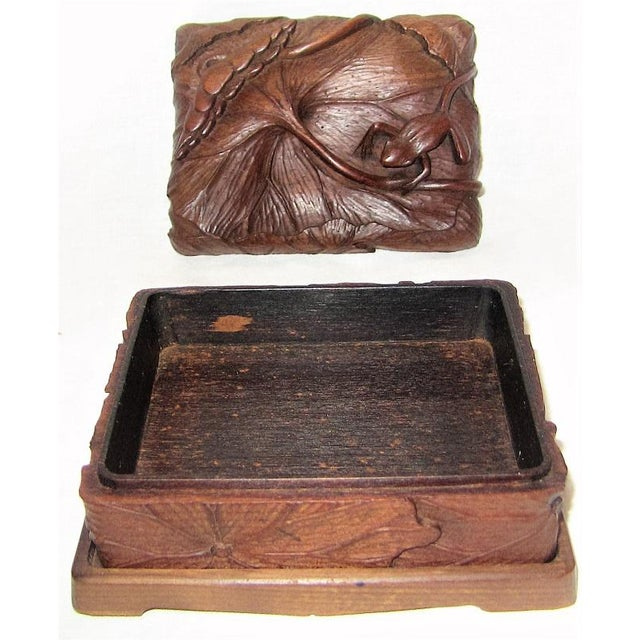 Brown 19c Japanese Carved Frog and Waterlily Wooden Box For Sale - Image 8 of 11