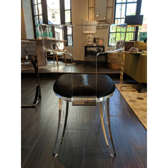 Contemporary Contemporary Black Cowhide and Lucite Side Chair For Sale - Image 3 of 7