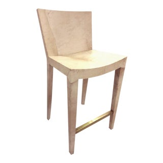 Karl Springer Vintage Parchment Bar Stool For Sale