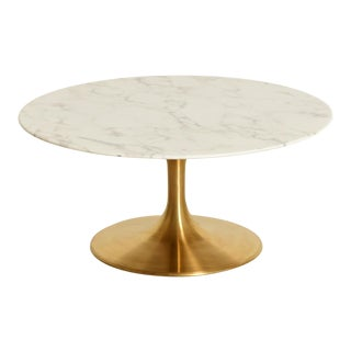 Modern Round Brass Tulip Coffee Table For Sale