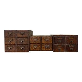 Vintage Fred Macey Tiger Oak Card File Cabinets - Set of 3 For Sale