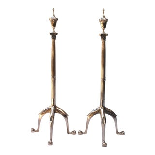 Vintage Swedish Brass Andirons - a Pair For Sale