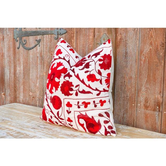 Late 20th Century Rakti Royal Red Suzani Pillow For Sale - Image 5 of 10