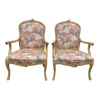 Pair of Faux Bois Hand Carved Vintage Bergere Arm Chairs For Sale