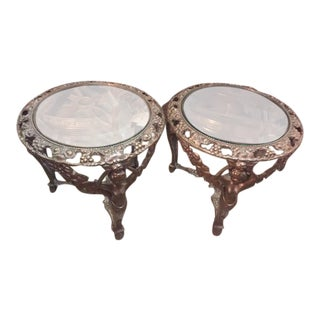 Vintage French Iron & Glass Round Tables - a Pair For Sale