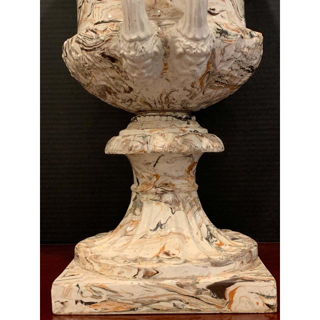 Large French Aptware/Mixed Earth Neoclassical Campana Urn For Sale - Image 10 of 12
