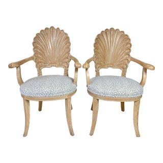 Pair of Hollywood Regency Style Shell Back Arm Chairs For Sale