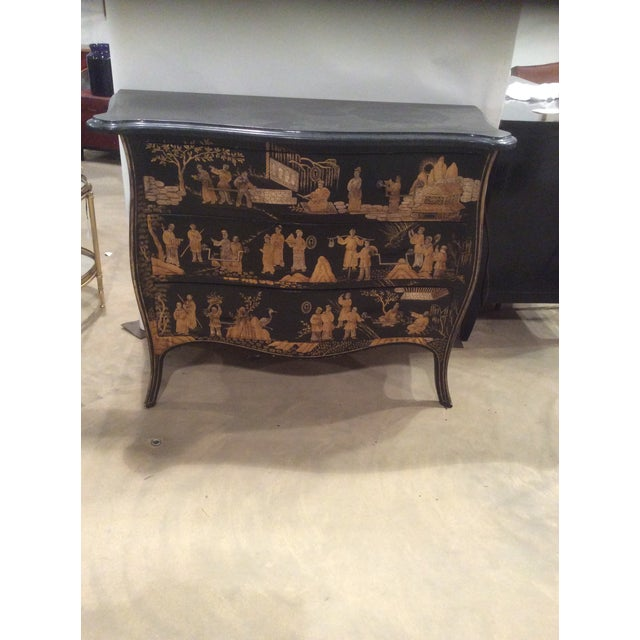 Marble top Louis XV chest with Chinoiserie decorated serpentine front with intricate raised gilt painted decoration.