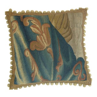 Antique Brussels Baroque Tapestry Floral on Blue Pillow 19'' X 19'' For Sale