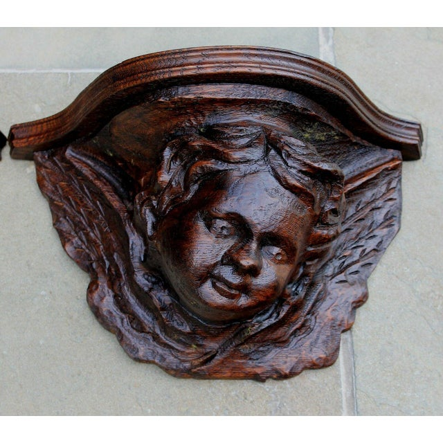 Victorian Pair Antique French Oak Wall Shelves Corbels Angels Cherubs Gothic Victorian For Sale - Image 3 of 13
