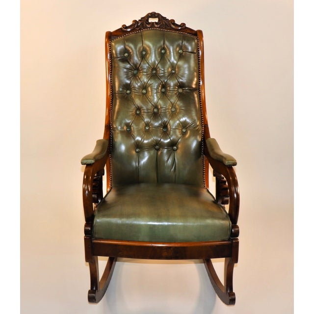 William IV 1830s English William IV Mahogany & Leather Rocking Chair For Sale - Image 3 of 13