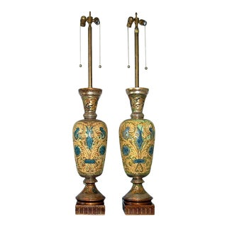 Marbro Italian Ceramic Table Lamps Gold Blue For Sale