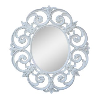 "Oversized 62""x56"" Shabby Cottage Chic White Mantle Mirror Ornate Scrolled French For Sale"