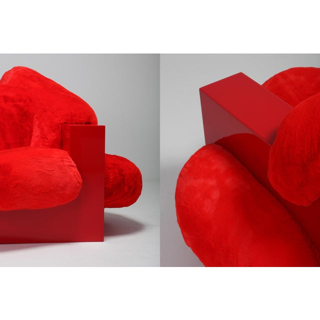 'Pillow Lounge Chair' in Red Lacquer and Faux Fur by Schimmel & Schweikle For Sale - Image 10 of 11