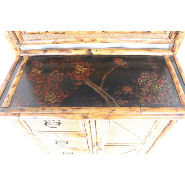 English 19th Century English Bamboo Vanity Cabinet For Sale - Image 3 of 13